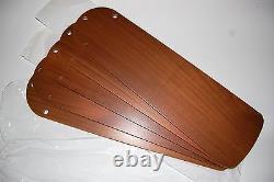 Hunter Vintage Ceiling Fan Original Parts New Set 5 Solid Teak Blades 52 Fan