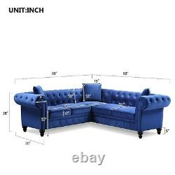 Indoor Sectional Sofa Set Living Room Tufted Velvet Chesterfield Sectional Sofa
