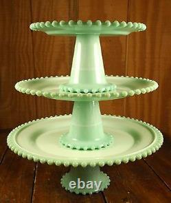 Jadite Green Marble Slag Glass Candlewick Pattern 3 Piece Jadeite Cake Plate Set
