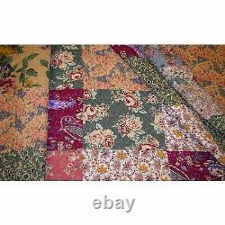 King Size Quilt 3 Piece Set Comforter Bedding Reversible Floral Prints Cotton