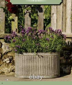 Large Vintage Galvanised Metal Ribbed Oval Tub Planters Plant Flower Pot Garden