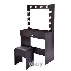 Makeup Vanity Dressing Table Set Dresser Desk with 12 Led Light Mirror Stool
