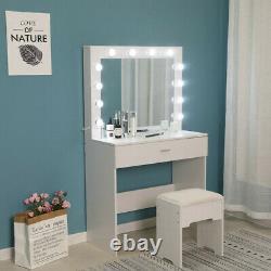 Makeup Vanity Dressing Table Set Dresser Desk with12 Led Light Hollywood Mirror US