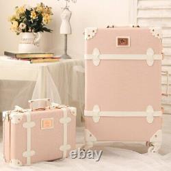 Maletas De Viaje Clásica Con Ruedas Para Mujer Travel Vintage Luggage Set Pink