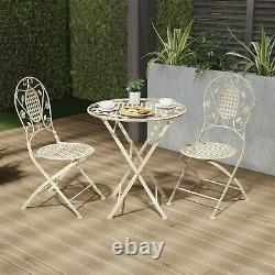 Metal Folding Bistro Table Chair Set 3 Pc Seating Patio Garden Antiqued