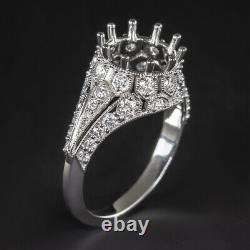 NATURAL DIAMOND VINTAGE RING SETTING 9mm ROUND ANTIQUE 3CT SEMI MOUNT ENGAGEMENT
