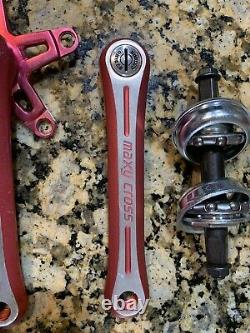 NOS Red Sugino Maxy Cross 170 crank set Vintage Old School BMX Freestyle