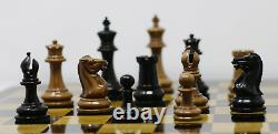 Nathaniel 1849 Antique Reproduction Vintage 3.75 Ebony Distressed Chess Set