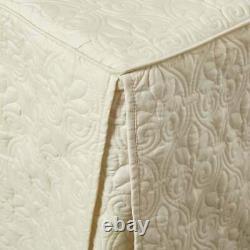 New Beautiful Chic XXL Ivory White Stitch Extra Large Soft Bedspread Quilt Set
