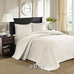 New! Beautiful XXL Oversized Ivory White Classic Bedspread Quilt Set King Cal