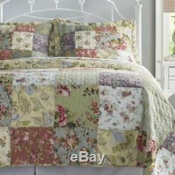 New! Beautiful XXXL Garden Ivory Pink Green Floral Rose Bedspread Quilt Set