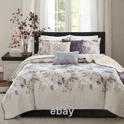 New! Cozy Cottage Purple Lilac Lavender Ivory White Watercolor Leaf Quilt Set