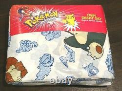 New Rare Vintage 1998-99 Pokemon Twin Bed Sheet Set Pikachu Fabric. Nintendo