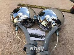 New Set Of Clear 6 Volt Small Vintage Style Fog Lights And Gray Brackets