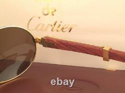 New Vintage Cartier Giverny 18k Gold & Wood 51/20 Full Set France Sunglasses