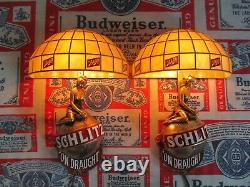 New Vtg 1971 Schlitz Beer Tiffany Ladies On Top Bar Light Broker Pub Sign Set A+