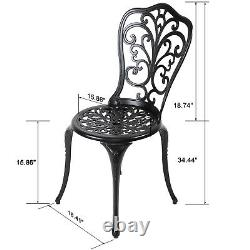Nuu Garden 3 Pcs Outdoor Cast Aluminum Conversation Bistro Set Table and Chairs
