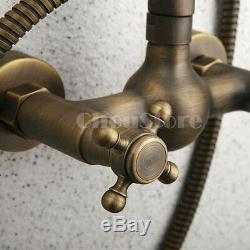 Old Fashion Antique Brass Wall Mount 8 Rain Shower Faucet Set Shower Mixer Tap