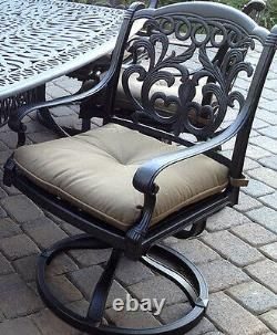 Outdoor 7 pc dining set patio furniture oval table cast aluminum chairs Bronze