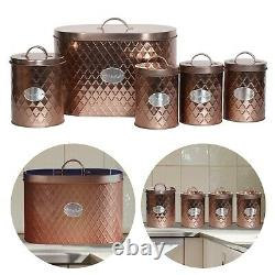Oval Bread Bin 5pc Set With Biscuit, Tea, Coffee, Sugar Canisters Vintage Copper