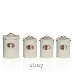 Oval Bread Bin 5pc Set With Biscuit, Tea, Coffee, Sugar Canisters Vintage Cream