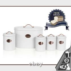 Oval Bread Bin 5pc Set With Biscuit, Tea, Coffee, Sugar Canisters Vintage White