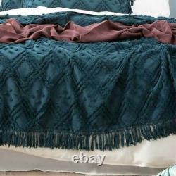 Park Avenue Medallion 100% cotton Vintage washed BedCoverCoverlet set Evergreen