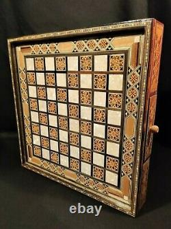 Premium Chess Board Handmade Premium Vintage Antique Chess Checkers wood set