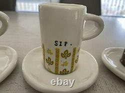 Rae Dunn Vintage Boutique Espresso Sip Cups Mugs Set Of 4