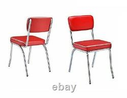 Red Retro Dining 2 Chairs Set Chrome Vinyl Vintage 50's Diner Style Seat Kitchen