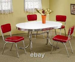 Retro 1950's Oval Dining Table and Red Chair 5 Piece Set by Coaster 2065-2450R