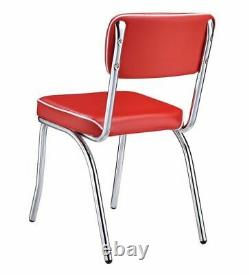 Retro Open Back Side Chairs Red and Chrome (Set of 2)
