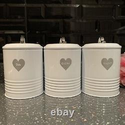 Retro Vintage white enamel Tea Coffee Sugar canisters jars Set silver heart jars