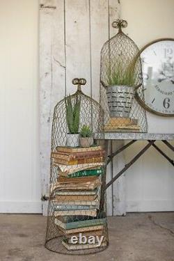 Rustic Gold Wire Cloche Topiary Trellis Garden Decor Cottage Chic 36H Set Of 2