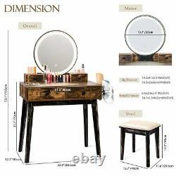 Rustic Makeup Vanity Dressing Table Set Jewelry Drawers WithStool Mirror Desk US