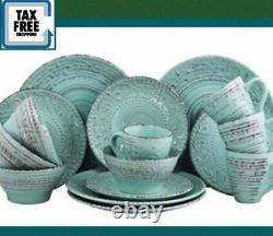 Set Dinnerware 16 Piece Dishes Plate Mug Turquoise Vintage Dinner Service New