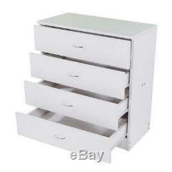 Set of 2 Bedroom 4 Dressers Drawers Wooden Storage Organizer Furniture White