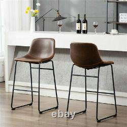 Set of 2 Counter Height Bar Stools with Back for Kitchen Dining Room Living Room