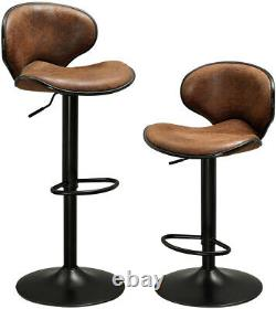 Set of 2 Kitchen Pub PU Leather Bar Stools Height Adjustable 360 Swivel With Back