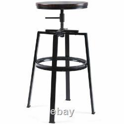 Set of 2 Vintage Bar Stool Industrial Adjustable Wood Metal Design Pub Chairs