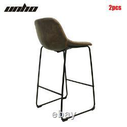 Set of 2 Vintage Rustic Bar Stool Kitchen Pub Bar Chairs High Back Sunken Seat