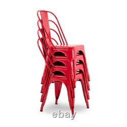 Set of 4 Dining Side Chair Stackable Seat Bistro Cafe Metal Stool Vintage Style