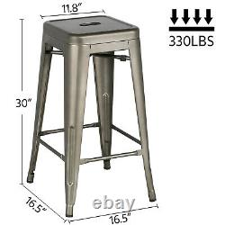 Set of 4 Metal Bar Stools Counter Bar Stool Restaurant Stackable Chairs Vintage
