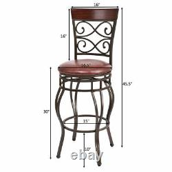 Set of 4 Vintage Bar Stools Swivel withPadded Seat Bistro Dining Kitchen Pub Chair