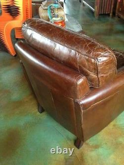 Set of three 28 W club arm chair vintage brown cigar leather great comfort