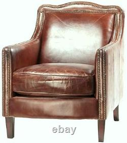 Set of two 27 Wide club arm chair vintage brown cigar top grain leather comfort