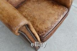 Set of two 30 W Club Chair Vintage chocolate brown buffalo leather distressed