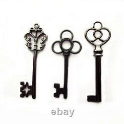 Skeleton Keys Antique Vintage Style Large in Gunmetal Black Finish 30 Key Set