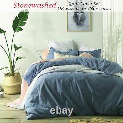 Stonewashed Denim Vintage Linen Cotton Quilt Cover Set QUEEN KING Super KING