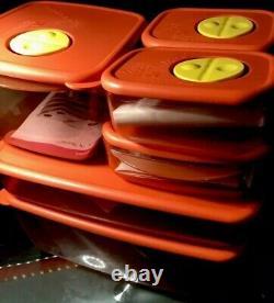 TUPPERWARE NEW VINTAGE ROCK n SERVE Large Stackable SET 6 Dishs/ 6 Lids NOS